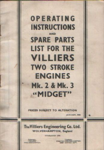 "Villiers Mk 2 & Mk 3 ""Midget"" Two Stroke Engine Operators Manual with Parts List"